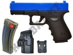 G15H BUNDLE Metal Airsoft BB Gun Black and Blue with Holster/Belt Clip and Pellets