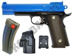 G20H BUNDLE Metal Airsoft BB Hand Gun Black and Blue with Holster/Belt Clip and Pellets