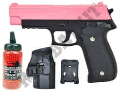 G26N BUNDLE Metal Airsoft BB Gun Black and Pink with Holster/Belt Clip and Pellets