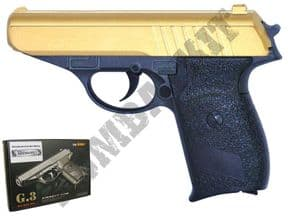 G3 Gold BB Gun | Walther PPK Replica Spring Airsoft Pistol 2 Tone Metal | BBGUN SHOP