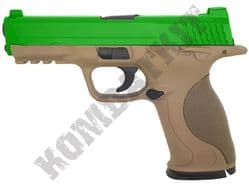 G51 BB Gun M&P Replica Spring Airsoft Pistol Tan Body 2 Tone Metal Slide