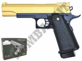 G6 Gold BB Gun | Colt 1911 Style BB pistol | 2 Tone Metal Airsoft Guns UK | BBGUNSHOP