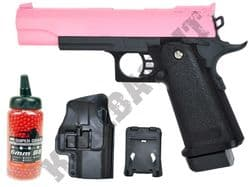 G6H BUNDLE Metal Airsoft BB Hand Gun Black and Pink with Holster/Belt Clip and Pellets
