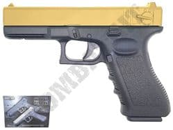 GE3007 BB Gun Glock G18 Replica Spring Airsoft Pistol 2 Tone Black Gold Metal Slide
