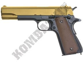GE3305 Airsoft Pistol | Colt 1911 Replica Gas Blowback BB Gun Gold Black 2 Tone | KOMBATKIT