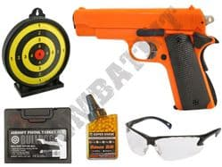 HA102 BUNDLE 1911 Spring Airsoft Pistol 2 Tone BB Gun with Target, Pellets, Case & Safety Glasses