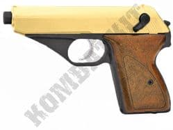 HG106 BB Gun Walther PPK Replica Gas Powered Airsoft Pistol 2 Tone Black Gold