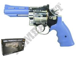 HG132 Gas Powered 6 Shot Revolver Airsoft BB Gun 2 Tone Silver Blue Metal Barrel