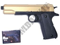 M292 BB Gun Colt 1911 Replica Airsoft Spring Pistol Black Gold 2 Tone