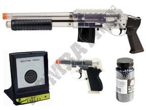 M3000 Shotgun & CS45 BB Pistol Clear 2 Tone Airsoft, Pellets & Target Bundle | KOMBATKIT