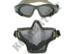 Metal Mesh airsoft safety glasses and lower face steel wire mesh mask bundle Green