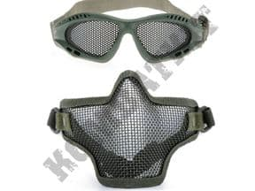 KOMBATKIT: airsoft glasses eye protection metal wire mesh lower face safety mask green bundle