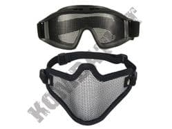 Metal mesh airsoft safety goggles and lower face steel wire mesh mask bundle black