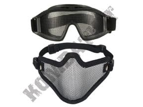 KOMBATKIT: eye protection airsoft goggles metal wire mesh lower face safety mask black bundle