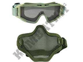 KOMBATKIT: airsoft goggles eye protection metal wire mesh lower face safety mask green bundle