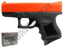 P698 BB Gun Glock 26 Compact Replica Spring Powered Pistol 2 Tone Orange Black