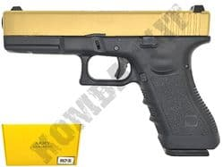 R17-5 BB Gun Glock G17 Replica Gas Blowback Airsoft Pistol 2 Tone Gold Black