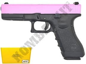 R17-5 BB Gun | Glock Replica Gas Blowback Airsoft Pistol 2 Tone Pink Black| KOMBATKIT
