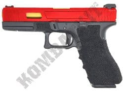 R17-7 Airsoft Pistol Custom Glock G17 Replica Gas Blowback BB Gun Black & 2 Tone