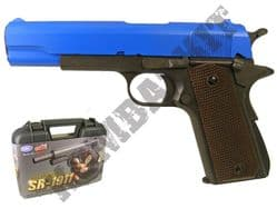 SR1911 Airsoft Pistol Colt 1911 Replica Gas Blowback BB Gun Black & 2 Tone Metal