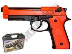 SR92 Metal Gas Blowback Airsoft BB Gun Black and Orange