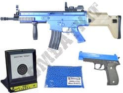 US Military BB Gun Bundle Spring FN Scar & P226 Replica + Pellets & Target Set 2 Tone Blue Black
