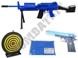 US Military BB Gun Bundle Spring M249 LMG & 1911 Pistol + Pellets & Target Set 2 Tone Blue Black