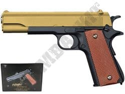 V14 Metal BB Gun Colt 1911 Replica Spring Airsoft Pistol Gold Black 2 Tone