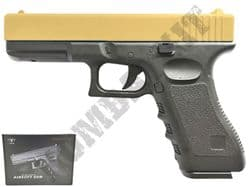 V20 Metal BB Gun Glock G17 Replica Spring Airsoft Pistol 2 Tone Gold Black
