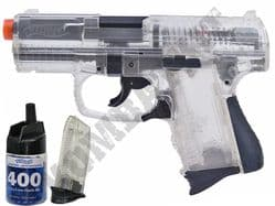 Walther P99 Compact BB Gun Official Model Spring Airsoft Pistol Clear Black 2 Tone + 400 BB's