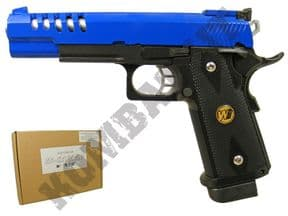 WE 5.1K BB Gun | 1911 Tactical Pistol Airsoft Gas Blowback 2 Tone Blue | KOMBATKIT