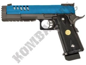 WE 5.2K BB Gun | 1911 Hi-Capa Pistol Airsoft Gas Blowback 2 Tone Blue Metal | KOMBATKIT