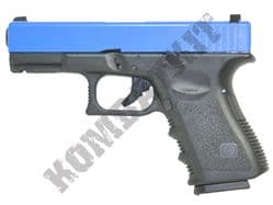 WE E23 Gen 3 G-Series Gas Blowback Airsoft BB Gun 2 Tone Black Blue Metal Slide