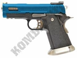 WE Hi-CAPA 3.8 WET Airsoft Pistol Velociraptor Gas Blowback BB Gun Black & 2 Tone Metal Slide