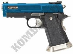 WE Hi-CAPA 3.8 WET Brontosaurus Pistol Gas Blowback Airsoft BB Gun 2 Tone Blue Black Metal Slide