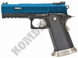 WE Hi-CAPA 4.3 WET Allosaurus Pistol Gas Blowback Airsoft BB Gun 2 Tone Blue Black Metal Slide