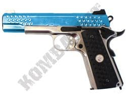 WE KnightHawk 1911 Airsoft Pistol Gas Blowback BB Gun Silver & 2 Tone Full Metal
