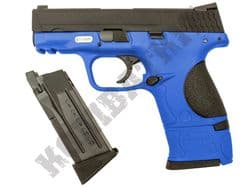 WE Little Bird M&P Gas Blowback Airsoft BB Gun 2 Tone Blue Metal Slide Dual Mag Bundle