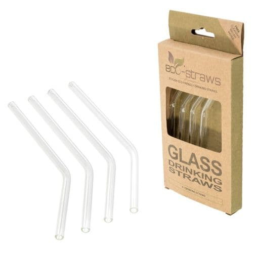 ANGLED Glass Drinking Straws (6mm x 145mm)