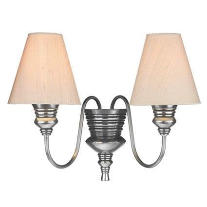 Doreen 2 Light Wall Light Pewter complete with Silk Shades (Specify Colour) DOR0999