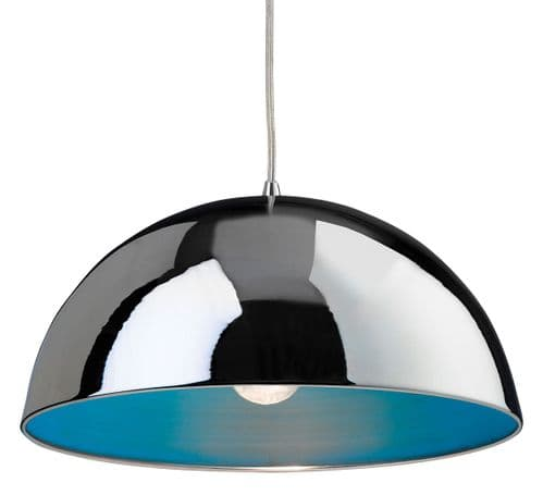 Firstlight 8622CHBL Chrome with Blue Inside Bistro Pendant