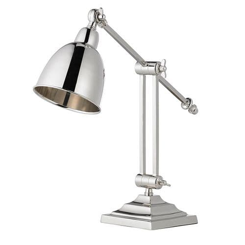 Polished nickel plate Tablelamp BXEH-RASKIN-TL-17 by Endon (Class 2 Double Insulated)