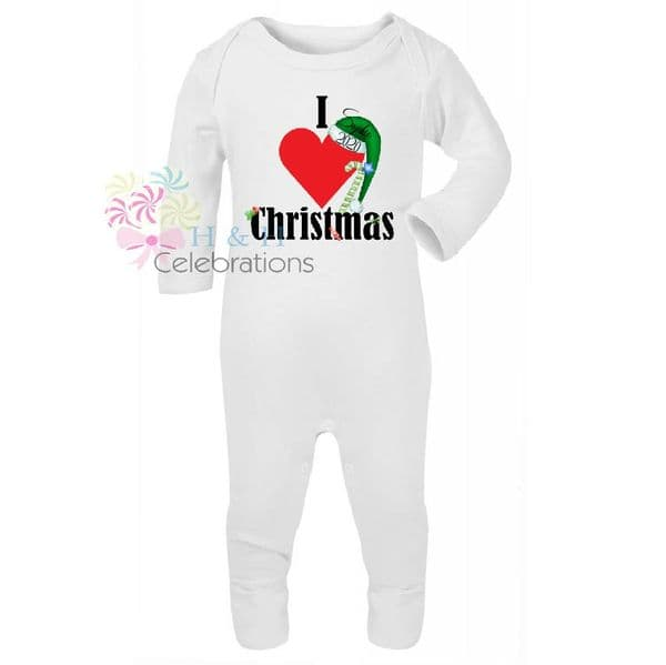 I Heart Christmas Personalised Baby Romper