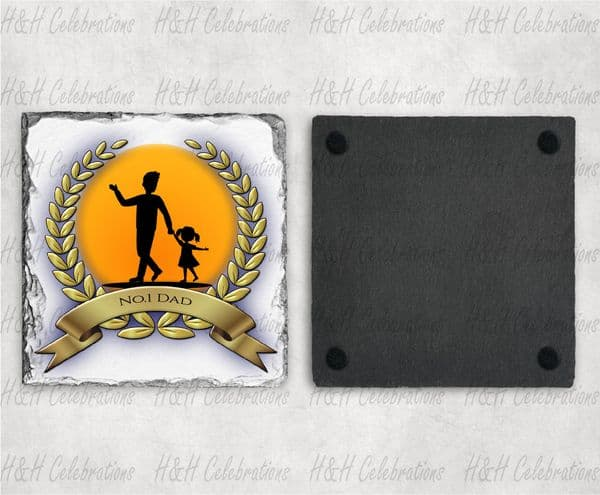 Male And Girl Laurel Personalised Slate Coaster