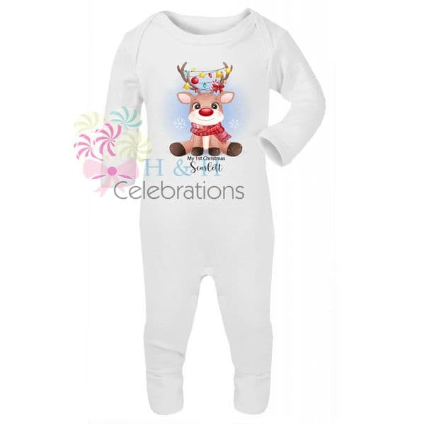 My 1st Christmas Little Reindeer Personalised Baby Romper