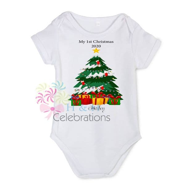 My 1st Christmas Tree & Presents Personalised Baby Vest