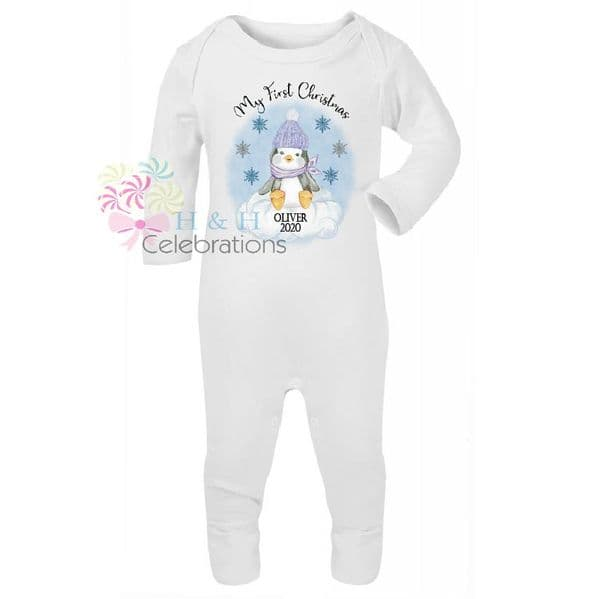 My First Christmas Blue Penguin Personalised Baby Romper