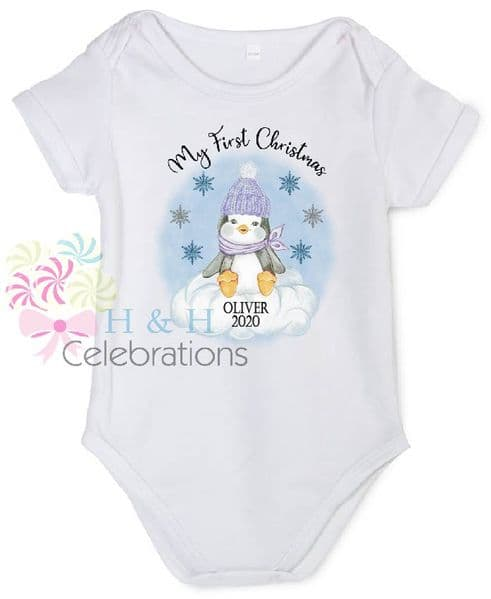 My First Christmas Blue Penguin Personalised Baby Vest