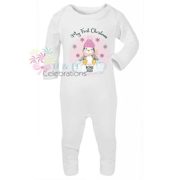 My First Christmas Pink Penguin Personalised Baby Romper