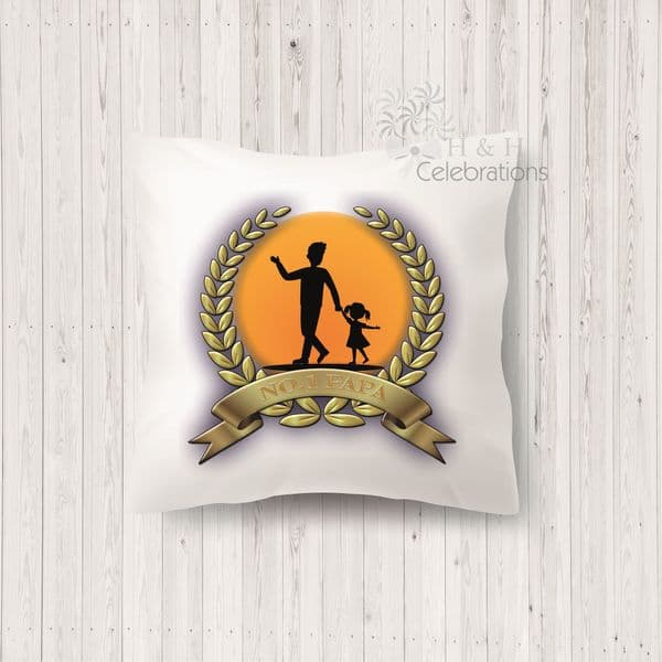 No 1 Papa And Daughter Laurel Silhouette Personalised Cushion